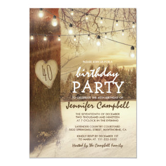 Rustic Winter Christmas Themed Birthday Party Card