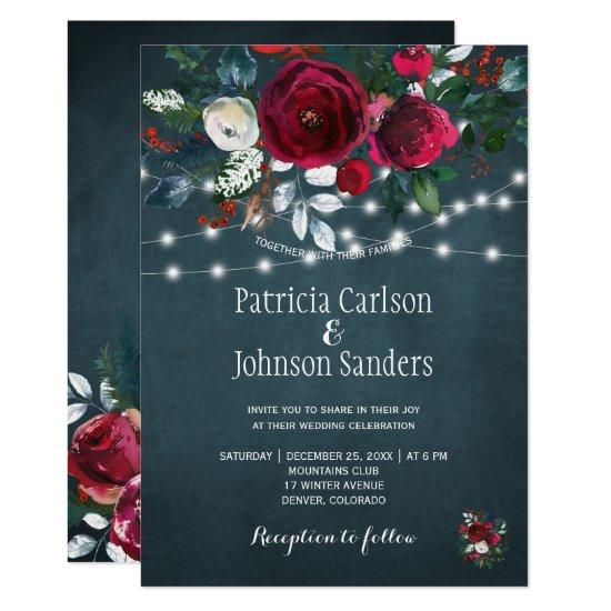 Rustic winter elegant floral Christmas wedding Invitation