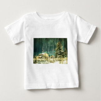 Rustic winter evergreen old barnwood cottage cabin baby T-Shirt