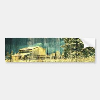 Rustic winter evergreen old barnwood cottage cabin bumper sticker
