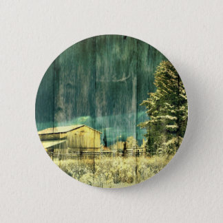Rustic winter evergreen old barnwood cottage cabin button