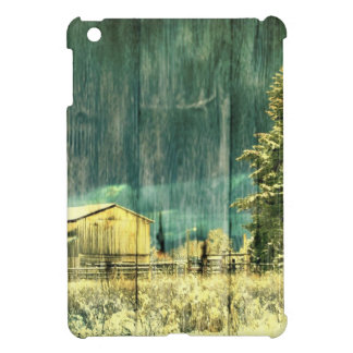 Rustic winter evergreen old barnwood cottage cabin case for the iPad mini