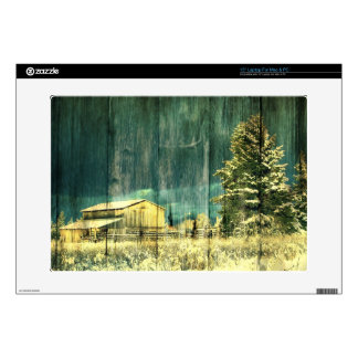 Rustic winter evergreen old barnwood cottage cabin decal for laptop