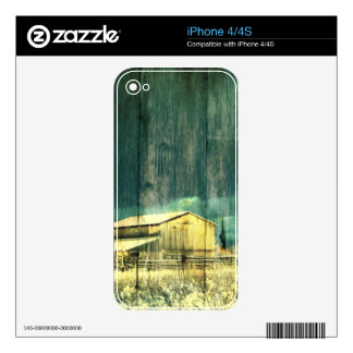 Rustic winter evergreen old barnwood cottage cabin decals for iPhone 4S