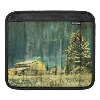 Rustic winter evergreen old barnwood cottage cabin iPad sleeve