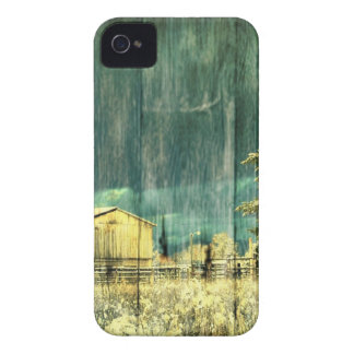 Rustic winter evergreen old barnwood cottage cabin iPhone 4 Case-Mate case
