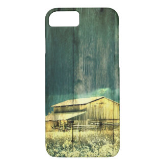 Rustic winter evergreen old barnwood cottage cabin iPhone 7 case