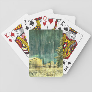 Rustic winter evergreen old barnwood cottage cabin playing cards