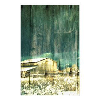 Rustic winter evergreen old barnwood cottage cabin stationery