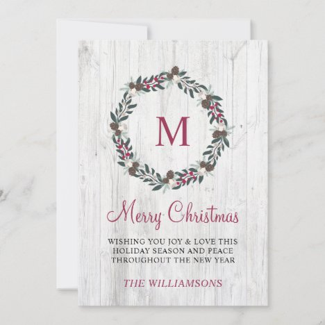 Rustic Winter Greenery Berry Wreath Christmas Wood Holiday Card