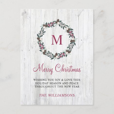 Rustic Winter Greenery Berry Wreath Christmas Wood Holiday Postcard