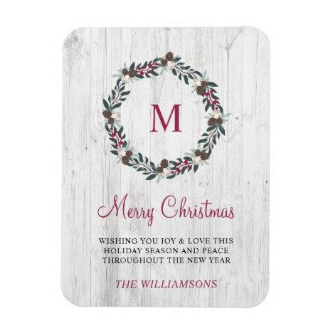 Rustic Winter Greenery Berry Wreath Christmas Wood Magnet