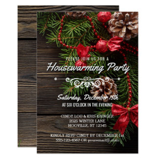 Rustic Winter Holiday Housewarming Party Card at Zazzle