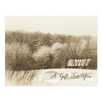 Rustic Winter Landscape Holiday Gift Certificate Postcard