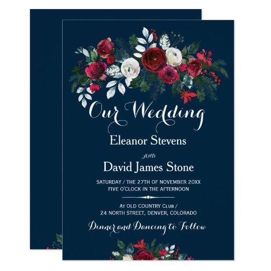 Rustic Burgundy Purple Floral Script Wedding Invitations: Rustic Winter Navy Blue Burgundy Floral Wedding Invitation