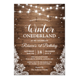 Rustic Winter ONEderland Lace Baby First Birthday Card