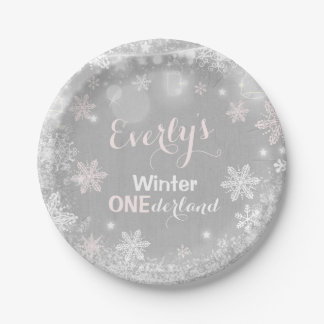 """Rustic Winter ONEderland Paper Plate 7"""" Plate"""