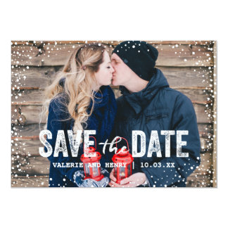 Rustic Winter Save The Date Full Bleed Photo Card