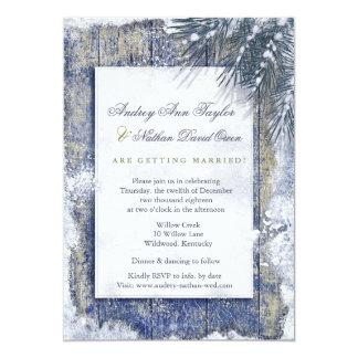 Rustic Winter Snow Barnwood Wedding Card
