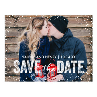 Rustic Winter Snowfall Save The Date Photo Postcard