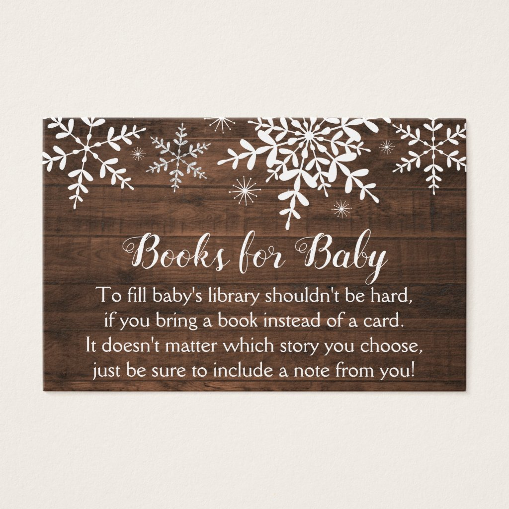 Rustic Winter Snowflakes Baby Shower Bring a Book