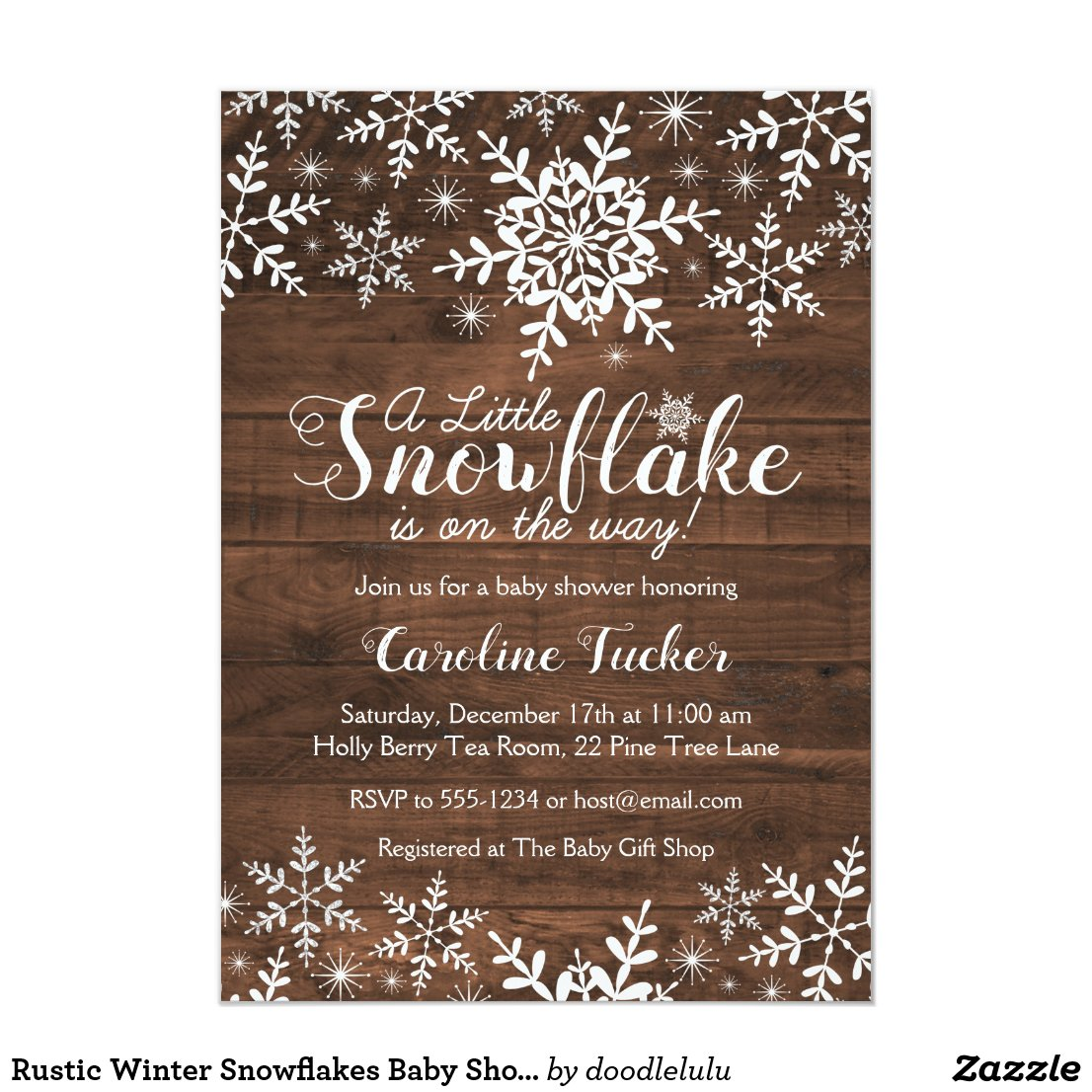 Rustic Winter Snowflakes Baby Shower Invitation