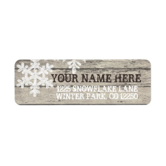Rustic Winter Snowflakes Label