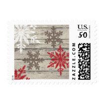 Rustic Winter Snowflakes Postage