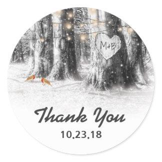 Rustic Winter Tree Lights Thank You Wedding Favor Classic Round Sticker
