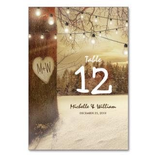 Rustic Winter Tree Lights Wedding Table Numbers