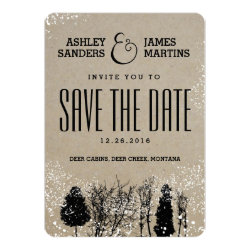 RUSTIC WINTER TREE SAVE THE DATE 5X7 PAPER INVITATION CARD