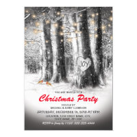 Rustic Winter Tree & String Lights Christmas Party Card