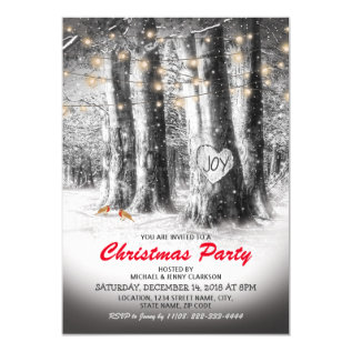 Rustic Winter Tree & String Lights Christmas Party Card at Zazzle