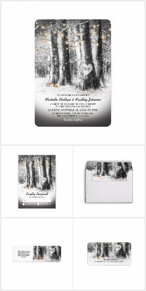 Rustic Winter Tree String Lights Invitation Suite