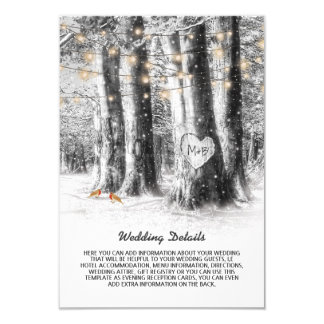 Rustic Winter Tree & String Lights Wedding Details Card