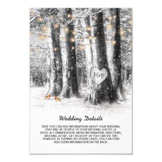 Rustic Winter Tree & String Lights Wedding Details Card