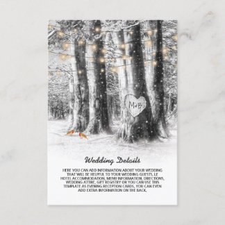 Rustic Winter Tree & String Lights Wedding Details Enclosure Card