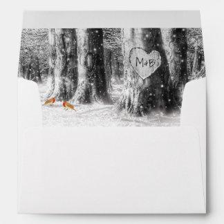 Rustic Winter Tree & String Lights Wedding Envelope