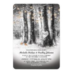 Rustic Winter Tree & String Lights Wedding Invitation at Zazzle