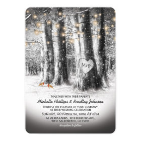 Rustic Winter Tree & String Lights Wedding Invitation