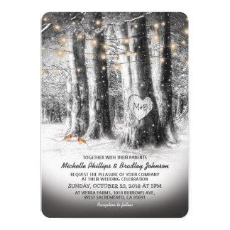 Rustic Winter Tree & String Lights Wedding Invitation