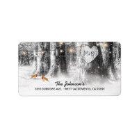 Rustic Winter Tree & String Lights Wedding Label