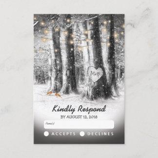 Rustic Winter Tree & String Lights Wedding RSVP