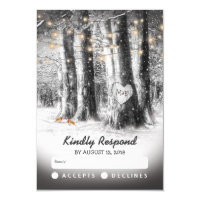 Rustic Winter Tree & String Lights Wedding RSVP Card