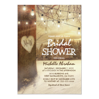 Rustic Winter Tree Twinkle Lights Bridal Shower Card