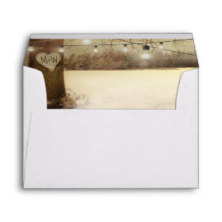 Rustic Winter Tree Twinkle Lights Christmas Envelope