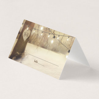 Rustic Winter Tree Twinkle Lights Wedding Place Card