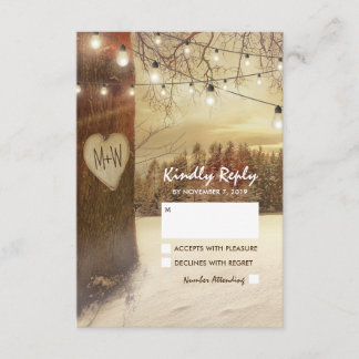Rustic Winter Tree Twinkle Lights Wedding RSVP