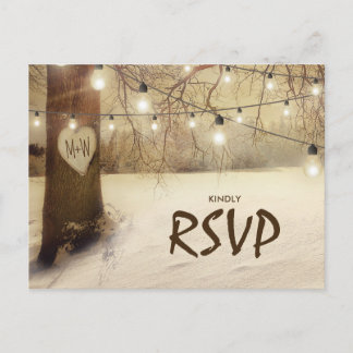 Rustic Winter Tree Twinkle Lights Wedding RSVP Invitation Postcard