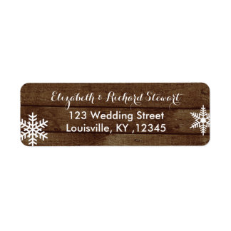 Rustic Winter Wedding Barn Wood Snowflakes Label